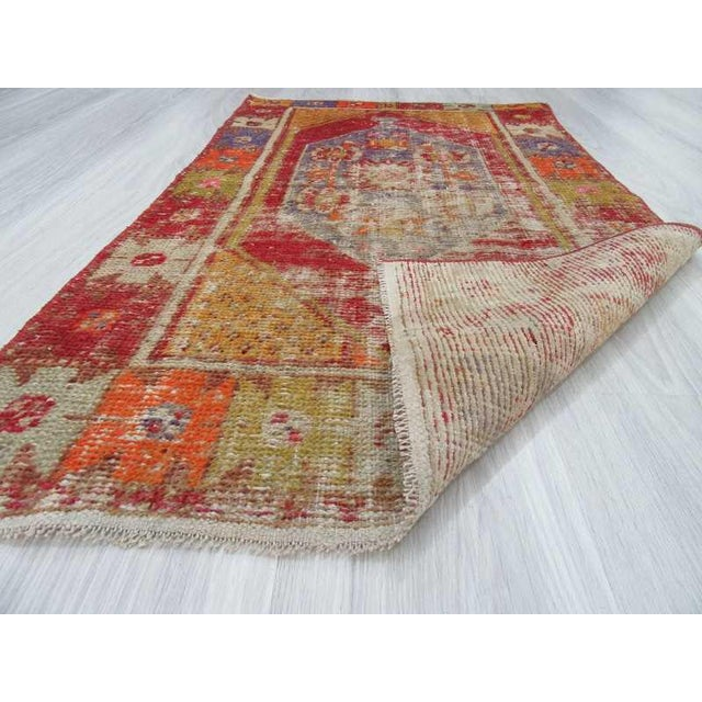 """Vintage Distressed Colorful Small Turkish Rug - 28"""" X 48"""" For Sale In Los Angeles - Image 6 of 6"""