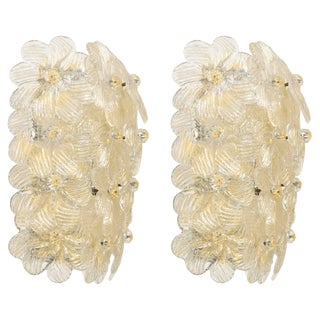 Pair of Barovier & Toso Flower Sconces For Sale