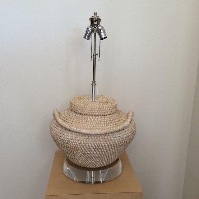 Richard Lindley Rattan Basket Lamp - Image 6 of 9
