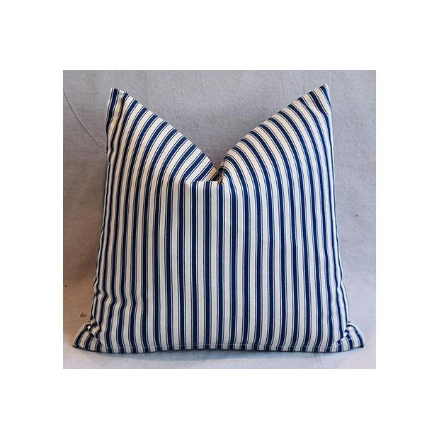 """17"""" Custom Tailored French Ticking & Union Jack Feather/Down Pillows - Set of 2 - Image 2 of 11"""