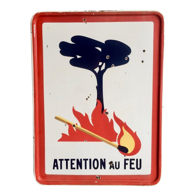"""Antique French Sign """"Attention Au Feu"""" - Image 1 of 8"""