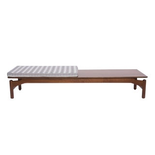 Greta Grossman for Glenn of California Walnut and Upholstered Bench For Sale