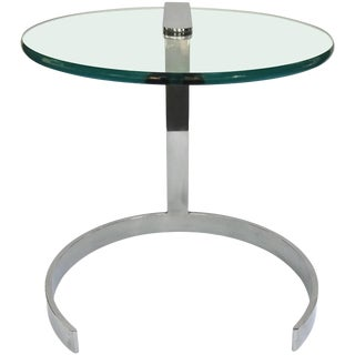 1970s Pace Collection Chrome and Glass End Table For Sale