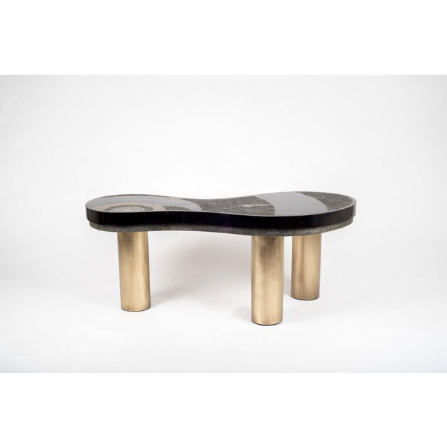 Constellation Coffee Table in Black Shagreen, Shell and Brass by Kifu Paris For Sale - Image 4 of 6
