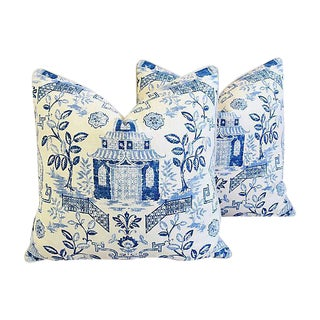 "Custom Blue & White Chinoiserie Feather/Down Pillows 26"" Square - Pair For Sale"