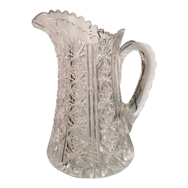 Antique American Star Cut Crystal Pitcher For Sale