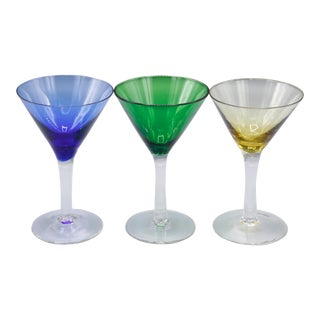 1970s Mid-Century Crystal Martini Glasses - Set of 3 For Sale