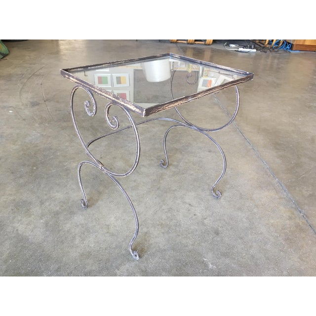 French Scrolling Steel Outdoor/Patio Nesting Side Tables W/ Glass Tops - Set of 3 For Sale - Image 3 of 10