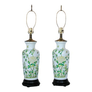 Pair of Asian Style Ginger Jar Table Lamps For Sale