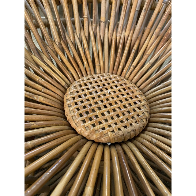 Brown Original Franco Albini Wicker Rattan Chair and Ottoman - a Pair For Sale - Image 8 of 13