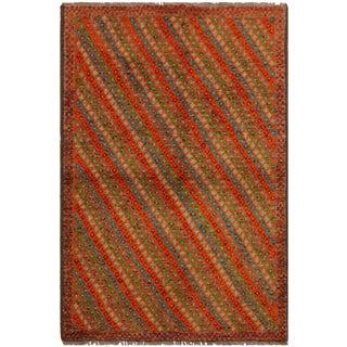 1990s Southwestern Balouchi Florenti Orange/Ivory Wool Rug - 3'4 X 4'10 For Sale
