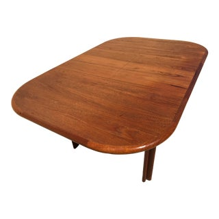 Vintage Diethelm Teak Danish Modern Extendable Dining Table With Compact Self Contained Butterfly Leaf For Sale