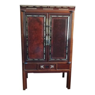1960s Chinese Wood Armoire With Bone Inlay For Sale