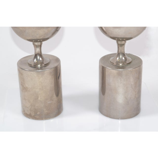 Philippe Barbier Mid-Century Modern Chrome Table Lamps Maison Barbier, Pair For Sale In Miami - Image 6 of 8