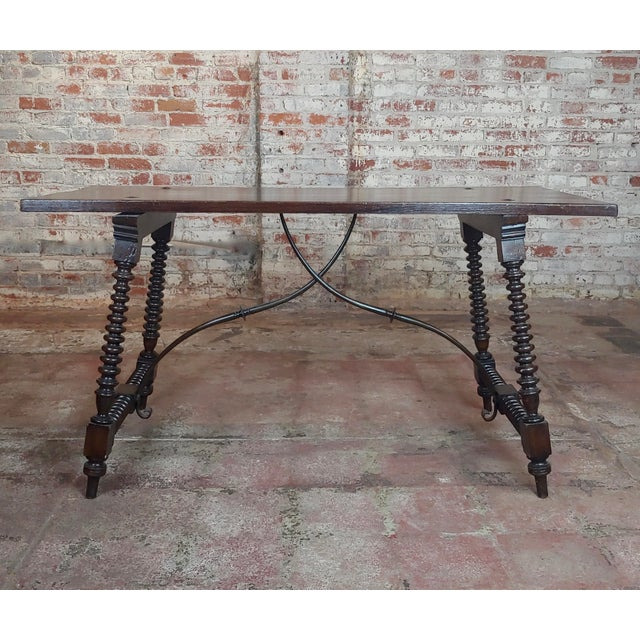 Early 20th Century 20th Century Spanish Revival Walnut Table With Iron Stretcher Bars For Sale - Image 5 of 12