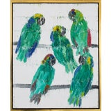 Image of Contemporary Green Amazon Parrots Oil Painting, Framed For Sale
