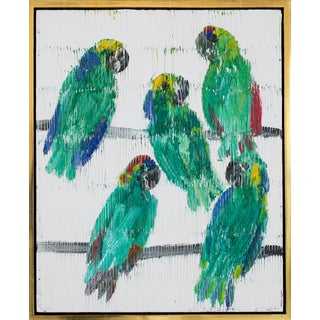 Contemporary Green Amazon Parrots Oil Painting, Framed For Sale