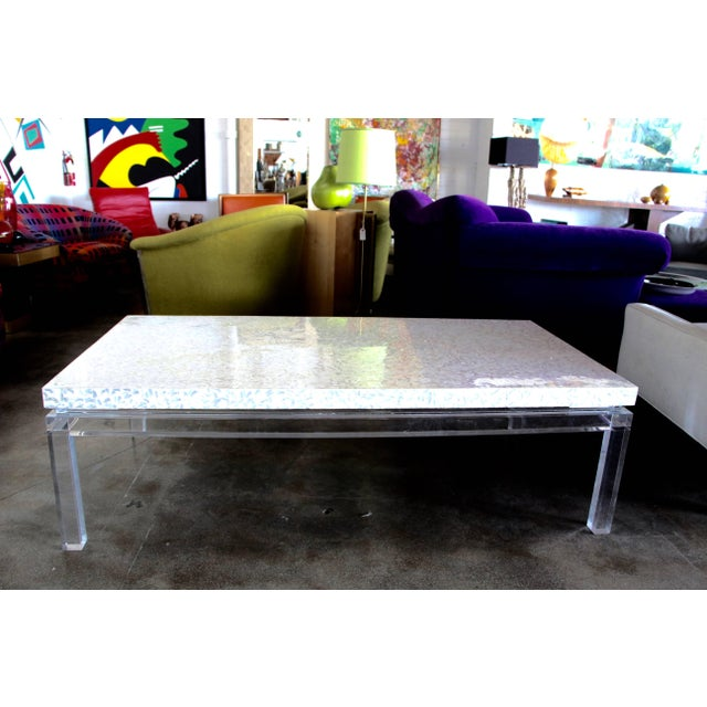 Mid 20th Century Phyllis Morris Custom Lucite and Mother of Pearl Coffee Table Signed For Sale - Image 5 of 11