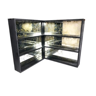 1960s Mid Century Modern Gold Veined Mirror and Black Wood Shelving System For Sale