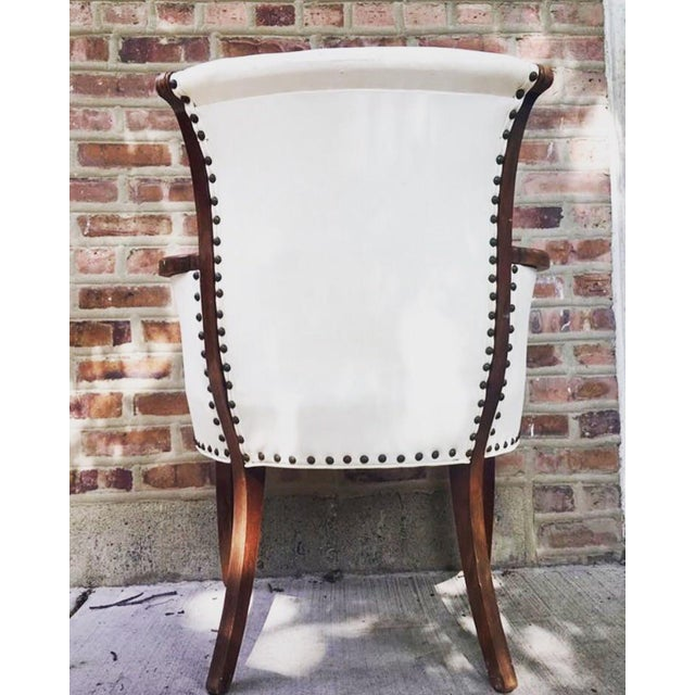 Modern Vintage White Leather Chair For Sale - Image 3 of 4