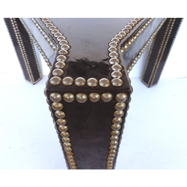 Silver Regency Style Parchment & Studs Triangle Tables - A Pair For Sale - Image 8 of 9