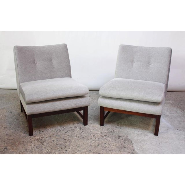 Pair of Danish Slipper Chairs in Chenille and Rosewood - Image 2 of 10