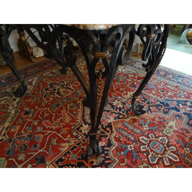 Marble 1940s French Marble Top Wrought Iron Center Table For Sale - Image 7 of 9