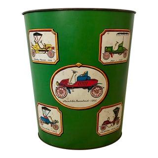 Green Antique Car Waste Basket For Sale