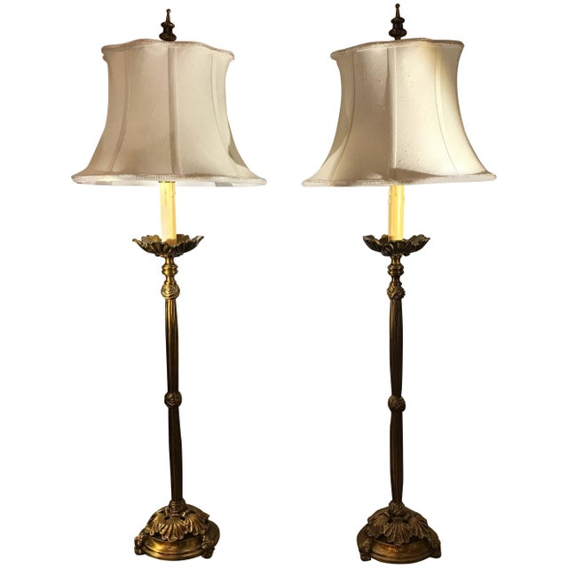 Cast Brass Tall Buffet Lamps - a Pair For Sale - Image 10 of 10
