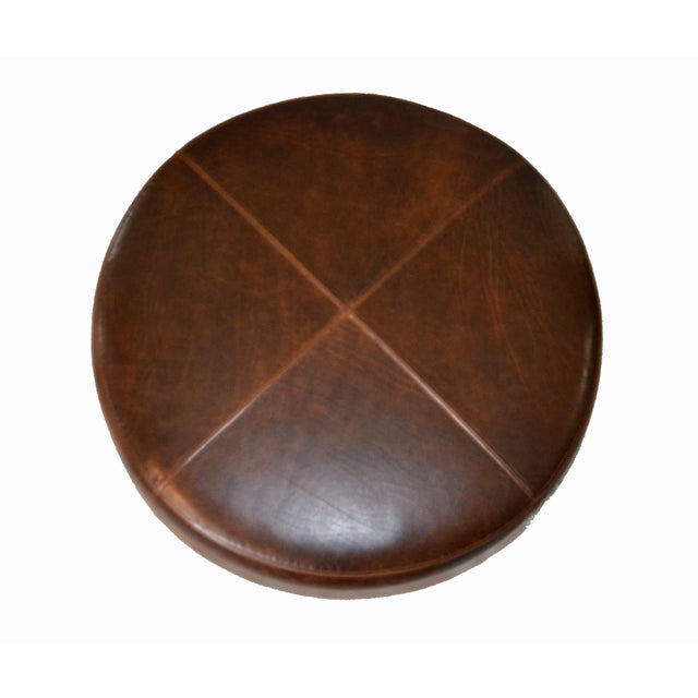 Modern Round Hand-Crafted Leather Ottoman, Pouf in Antique Leather, Contemporary For Sale In Miami - Image 6 of 13