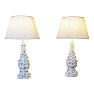 Meissen Schneeballen Style Lamps - a Pair For Sale