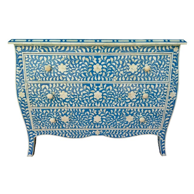 French Style Curved Bone Inlay Blue Chest - Image 2 of 4