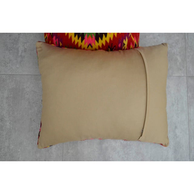 Vintage Turkish Kilim Rug Pillow Covers - A Pair - Image 4 of 5