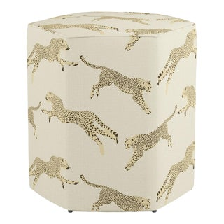 Hexagonal Ottoman in Desert Cheetah For Sale