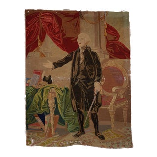 George Washington Hand Embroidered Tapestry C. 1850s For Sale