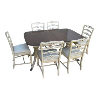 Mahogany Painted Dining Table With 6 Chairs by Morganton For Sale
