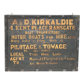 19th Century British Boat Proprietor Hand Painted Sign For Sale