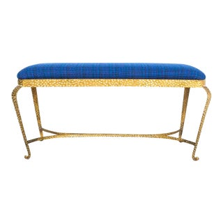 Pair of Pier Luigi Colli Gold Iron Bench Blue Fabric, Italy, 1950 For Sale