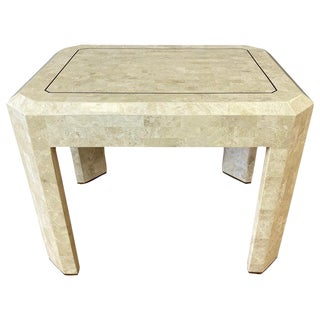 Maitland-Smith Tessellated Fossil Side Table With Brass Accents, 1970s For Sale