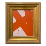 Image of Ron Giusti Mini Abstract Light Pink and Orange Acrylic Painting, Framed For Sale