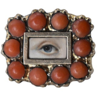 Lover's Eye Georgian Coral Brooch For Sale