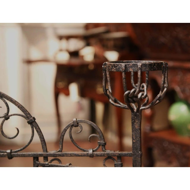 19th Century French Forged Iron Double Door Fireplace Screen With Bowl Holders For Sale - Image 9 of 10