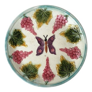 1890s Majolica Plate With Butterfly and Fruits For Sale