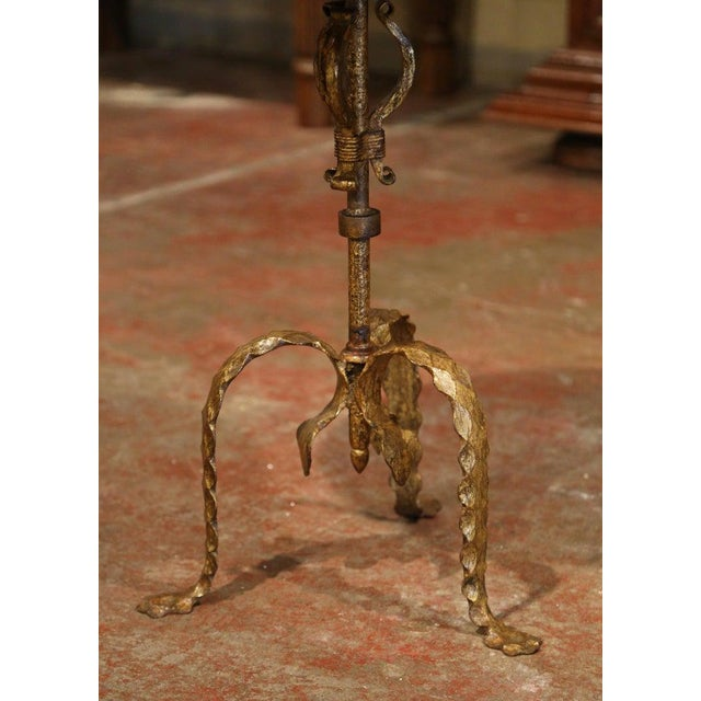 French 1920's French Gilt Painted Iron Pedestal Martini Side Table For Sale - Image 3 of 11