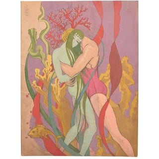 Underwater Lovers Art Deco Painting 1920s For Sale