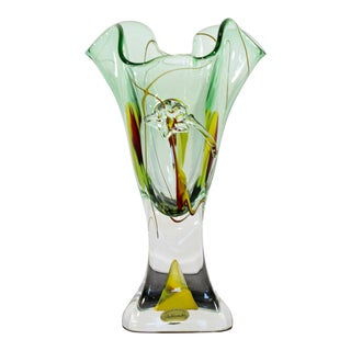 Jablonski Mid Century Modern Crystal Vase, Signed For Sale