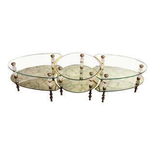 1960s Hollywood Regency Goran of Belgium Verre églomisé Glass Coffee Table For Sale