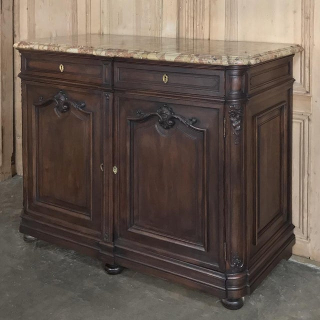 Late 19th Century Pair 19th Century French Walnut Louis XIV Marble Top Buffets For Sale - Image 5 of 13