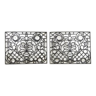 1900s Victorian Style Clear Leaded Glass Windows - a Pair For Sale