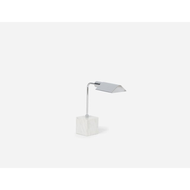 Marble and chrome desk or table lamp with articulating shade, style of Cedric Hartman.